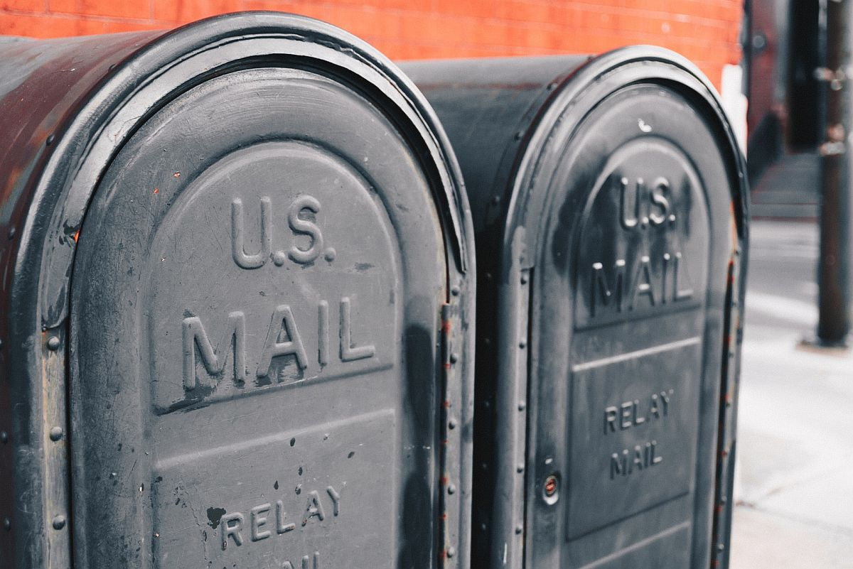 Two USPS mailboxes; eCommerce fulfilment concept.