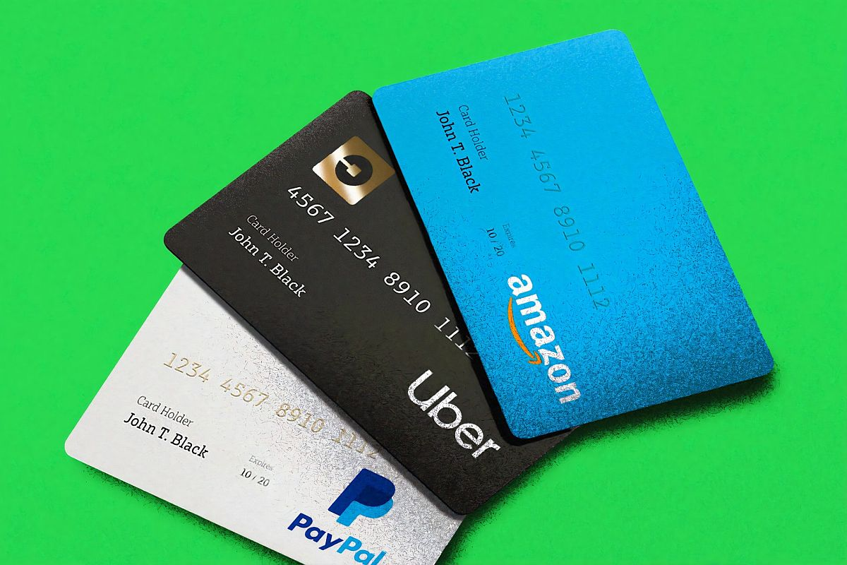 branded credit cards for amazon, uber, and paypal; first-time online shoppers concept