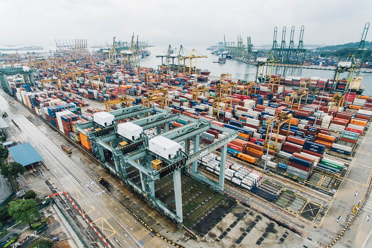 shipping yard with cargo; cross-border eCommerce concept