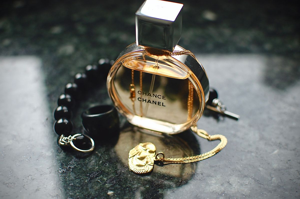 close up on perfume bottle; luxury resale trends concept