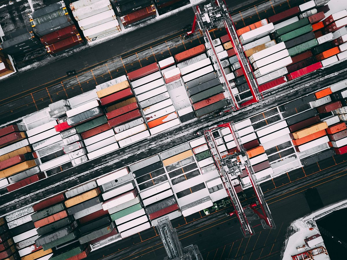 overhead view of a container ship; Brexit trade deal and eCommerce concept