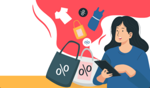 illustration of woman on tablet shopping an eCommerce flash sales. eCommerce flash sales are a popular way of driving revenue and increasing demand for DTC retailers.